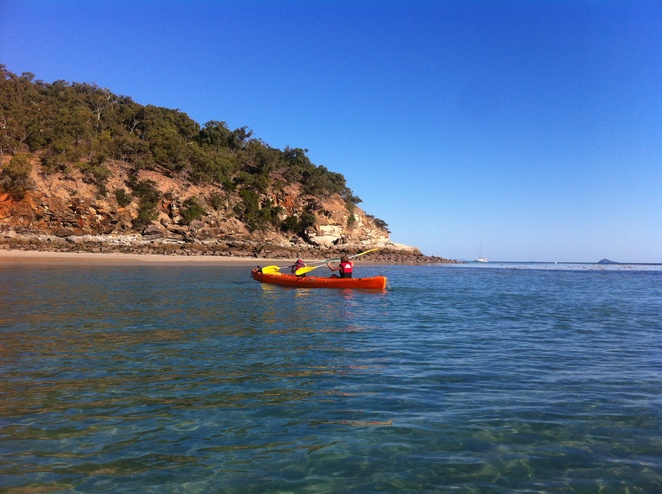 Kayaking on the reef, Kayak with kids, Shelving beach GKI, GKI, Great Keppel island with kids, what to do on Great Keppel, day trips to QLD islands, Great Barrier reef