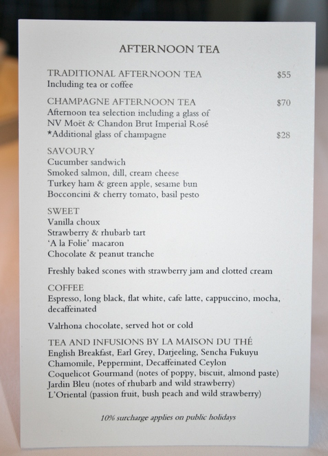 menu afternoon tea Park Hyatt Sydney