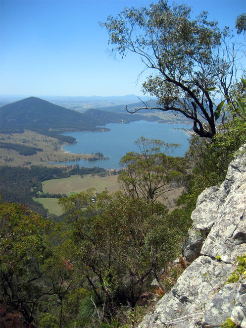 Moogerah Lake and Peak seen from Mt Greville