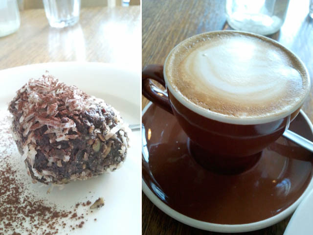 Paleo ball, decaf flat white with soy