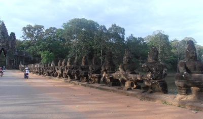 An amazing bridge just outside the gates of Angkor Thom