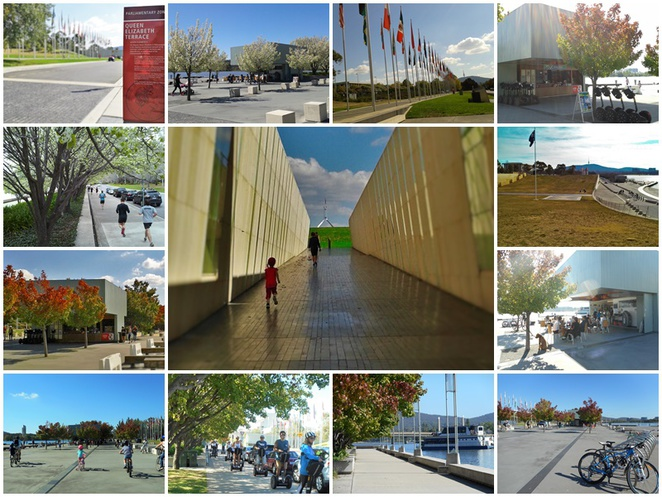 queen elizabeth terrace, canberra, kids, children, parliamentary triangle, fun for kids, bike riding, scooters, cafes, lake burley griffin, international flag display,