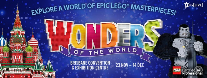 wonders of the world exhibition, wonders of ther world lego exhibition, lego exhibition brisbane, ryan mcnaught lego exhibition, brisbane convention and exhibition centre, the brickman lego exhibition, lego empire state building, lego statue of david