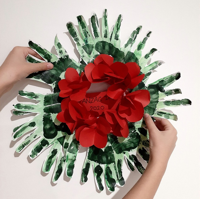 anzac day wreath, kids crafts, paper, how to, children, craft ideas, crafts, paper crafts, front door, australia, anzac day crafts, kids crafts, children,