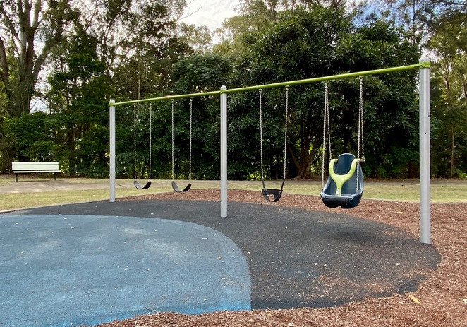 The playground also features swings for children with a range of ages and abilities
