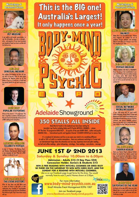 body mind psychic expo, adelaide showground, june