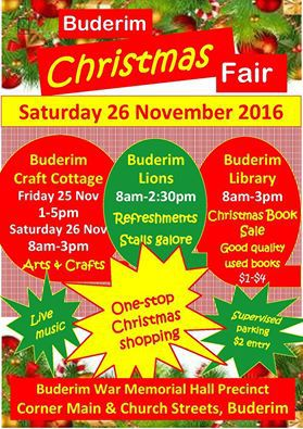 Buderim Christmas Fair, one-stop Christmas shopping, handcrafted gifts, silversmith, sculptures, potters, porcelain painting, yarns, fibres, patchwork, machine embroidery, needlework, calligraphy, used books, refreshments, live music, stocking fillers