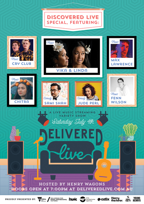 Delivered Live presents Discovered Live 2020, community event, fun things to do, online music event, henry wagons, saturday night live stream, community event, fun things to do, free to watch, suport the arts, virtual music event, vika & linda, cry club, sami shah, jude perl, max lawrenc, fenn wilson, win a prize, win a pair of audio technica headphones
