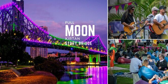 full moon kirtan under story bridge 2020, community event, fun things to do, australian school of meditation and yoga, the mantra room brisbane, captain burke park brisbane, recharge and rejuvenate, meditation, music, fun things to do, community event, kirtan, vegan food trucks, family friendly, moonlit mantras, mindfulness, sound bathing, socialising, chilling, picnic, chanting, transcendental sound, yoga meditation, free event, spiritual sounds, kangaroo point