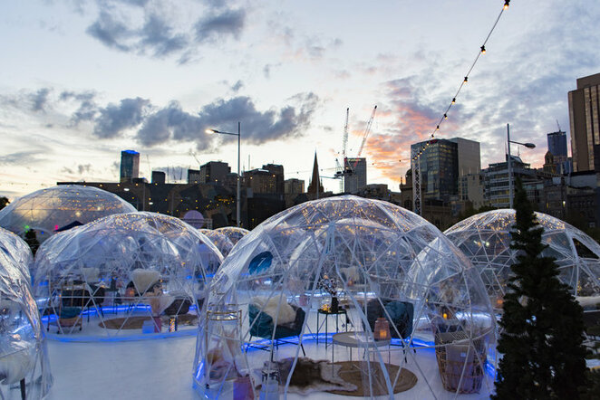 igloos, fed,square,federation,best,snow,drink,bar,rooftop,melbourne