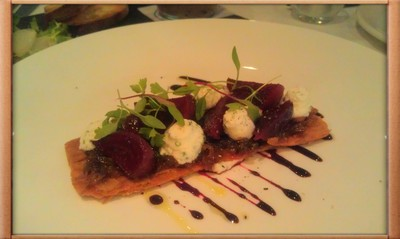 Beetroot relish, sticky onion and goatscurd feuillette