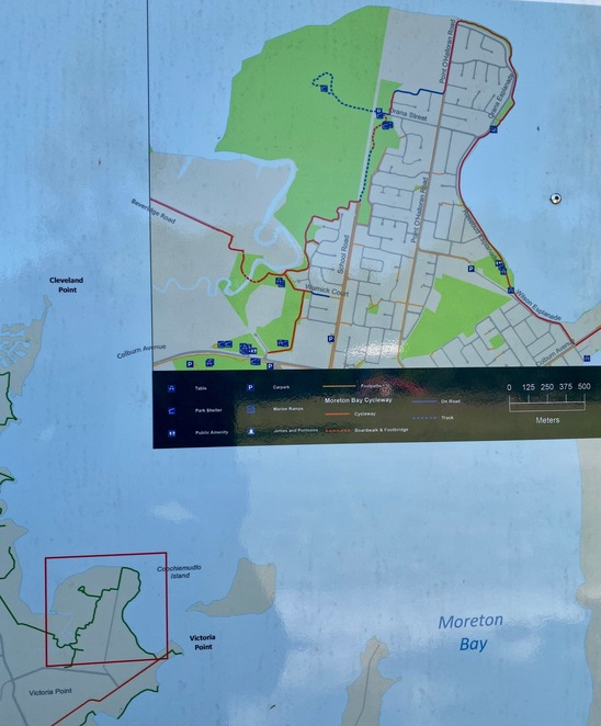 Closeup of the signed route on the Moreton Bay Cycleway