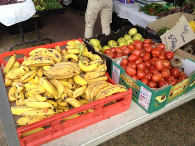 There is plenty of fresh fruit and vegetables here...