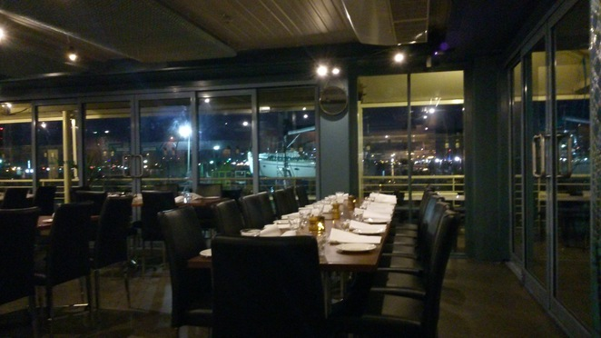 Nighttime view from inside Pelican's Landing