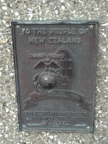 Plaque, US Marines, Wellington waterfront