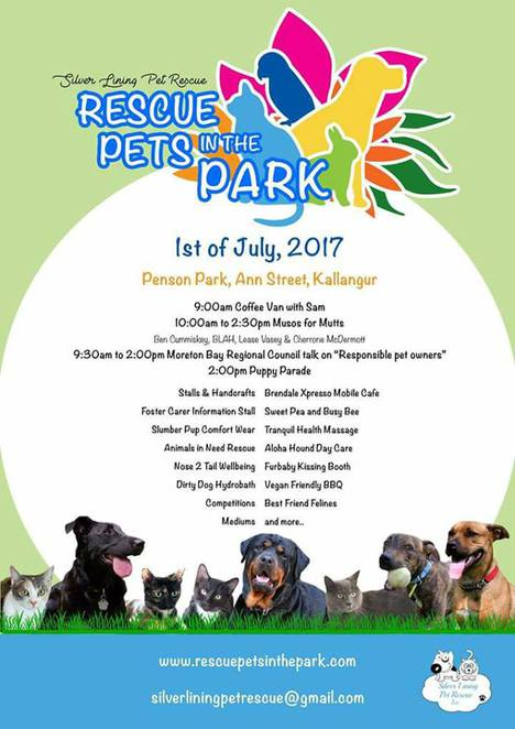 rescue pets in the park, kallangur, northside, northern suburbs, brisbane, free, dog event, family event, free entry, charity, animal charity, fundraiser, family day, silver lining pet rescue, prize, market, hydrobath