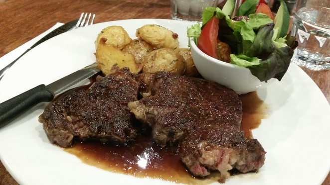 scotch fillet, steak, beef, potatoes