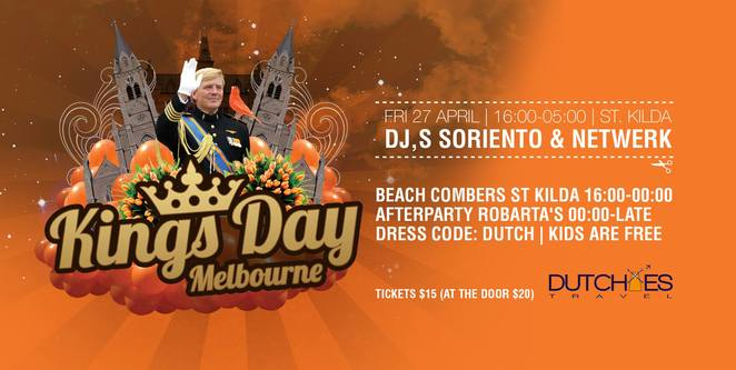 the official kings day party melbourne, melbourne kings day party, cultural event, community event, fun things to do, dutchies, oranjefeest melbourne, jacka boulevard, st kilda, beach combers, dutchees afterparty, dj s soriento and netwerk, fun things to do, het officiele koningsfeest van melbourne, dress in orange, broodje kroket, dutch food, dance polonaise, family fun