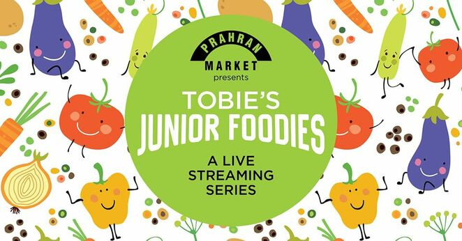 tobie's junior foodies 2020, free kids cooking classes, tobie puttock chef, free cooking classes, live streaming cooking series for kids 2020, community event, fun things to do, prahran market presents, cooking classes online for kids