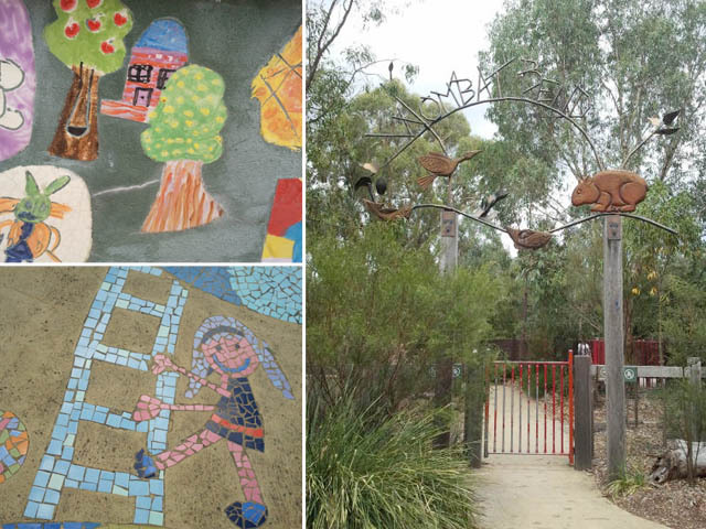 Wombat Bend's mosaic art and decorative gated entrance