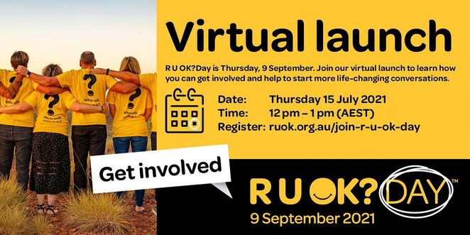 2021 r u ok? day virtual launch, community event, fun things to do, online mental health event, black dog, tips and ideas for mental health, support r u ok?