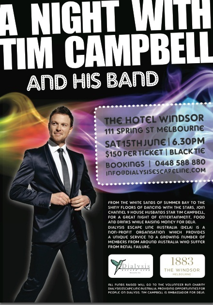 a night with tim campbell and his band, Dialysis escape line australia