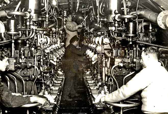 The engine room of the AE2 Submarine