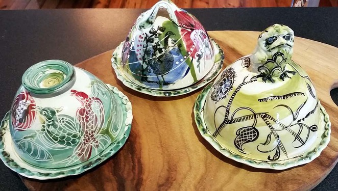butter dish, ceramics, Alison Arnold, winged images