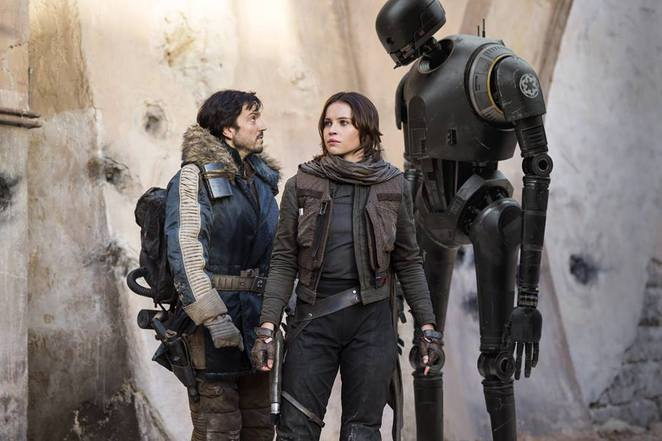 Cassian, Jyn and K-2SO in Rogue One: A Star Wars Story
