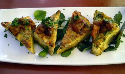 Caramelised Onion, Potato and Blue Cheese Frittata with Homemade Pumpkin and Quince Chutney