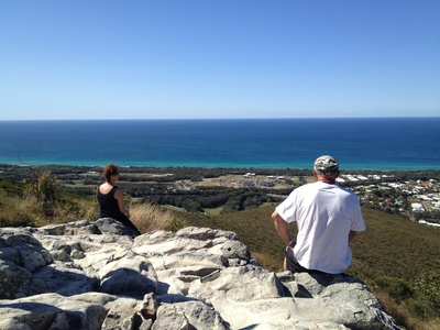 Having a rest atop Mount Coolum.