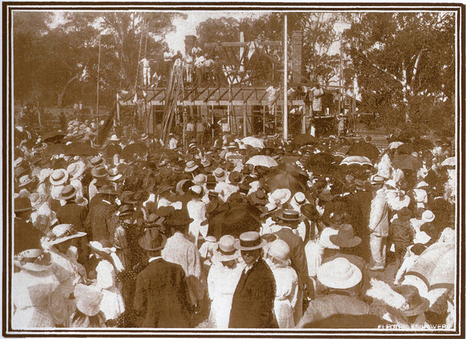 In commemoration of ANZAC, Lady Barron setting the Memorial tablet at ANZAC Cottage in 1916.