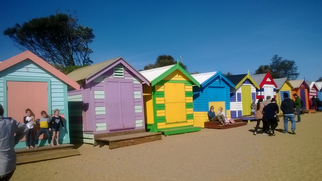 Melbourne, Puff n City tour, Brighton Bathing Boxes