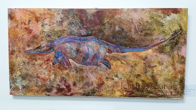 Opalized Ichthyosaur captured by artist Peter Delahenty.