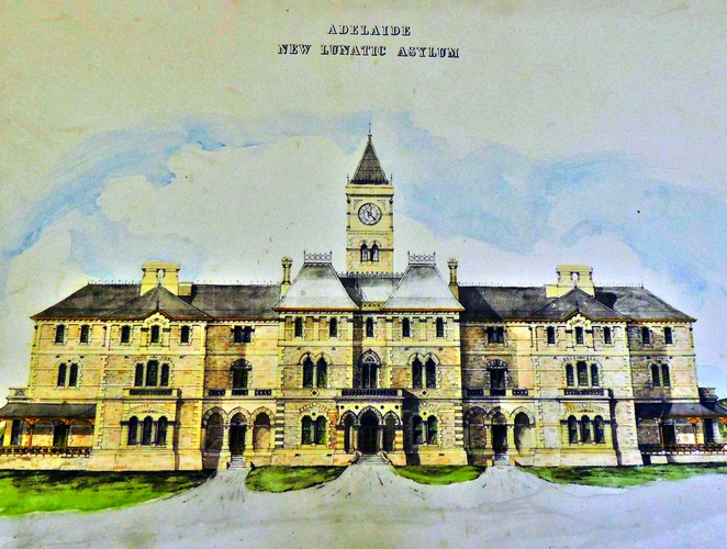 parkside lunatic asylum, adelaide studios, glenside hospital, parkside mental hospital, underground cellars, straitjacket, mentally ill, south australian film corporation, lunatic asylum, colour sketch