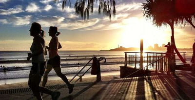 Running past Mooloolaba Beach