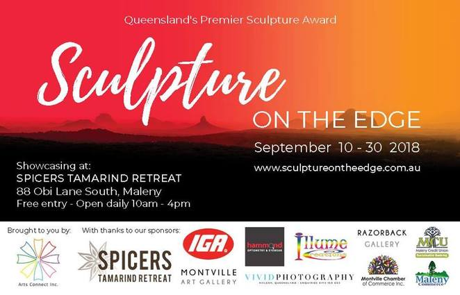 Sculpture on the Edge 2018, Spicers Tamarind Retreat, Arts Connect Inc, ACI, Sunshine Coast Hinterland, sculptures, prize money, Awards Night, breakfast, Scones on the Deck, Gourmet picnic for two, lunch, sundowners, Vietnamese Bun Cha, Afternoon Drinks on the Deck, premier sculpture event, premier location, art lovers