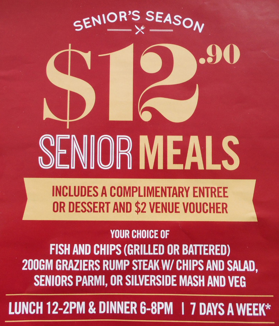 senior's season, australian leisure and hospitality group, sunshine coast, cheap dining,