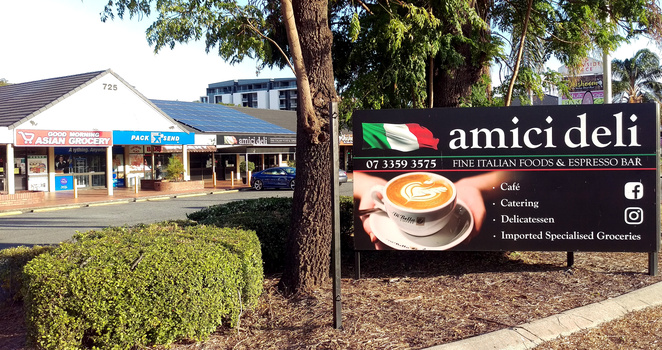 Amici Deli is set in a strip mall off Gympie Road with plenty of parking