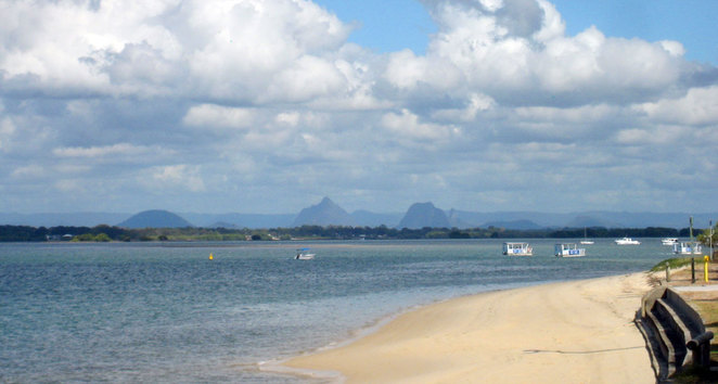 Pumicestone Passage with the Glass House Mountains visible in the background