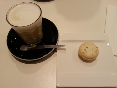 Perfectly paired: A vanilla chai latte and New York Cheesecake macaron from First Pour Cafe