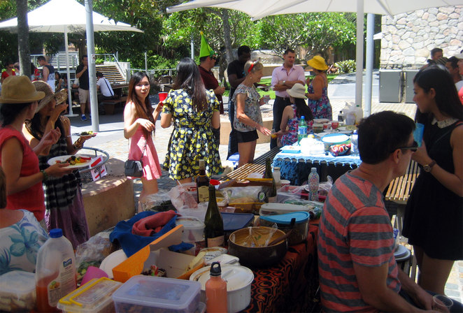 Christmas day barbecue in Roma Street Parklands
