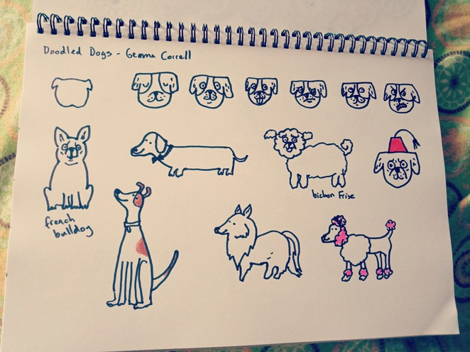 doodled dogs, drawing, drawing books, books for animal lovers, doodling