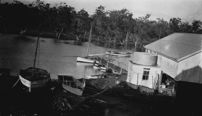 Drew's Boat Building Shed 1920