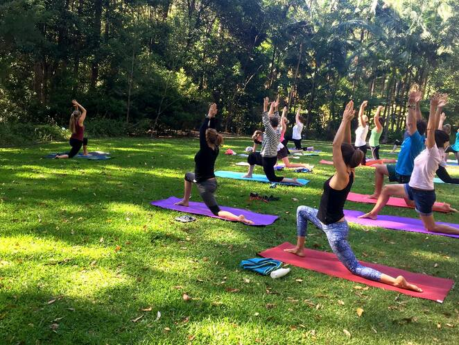 Free Community Yoga, three outdoor locations, Healthy Sunshine Coast, choose to move, local parks, community venues, no-cost activity, introduction to yoga, physical benefits, improve strength, balance, greater flexibility, join the program, Maroochy Regional Bushland Botanic Garden, Contemplation Garden, Thursdays with Yoga NRG, Saturdays with Eleisha, Adosa Yoga, Buderim Village Park, Daily Nurture, Mountain Movement at historic Bankfoot House, Mount Tibrogargan, Bijam of Yoga, own mat, own towel, water bottle, sunscreen, hat, find your inner zen, council-managed locations