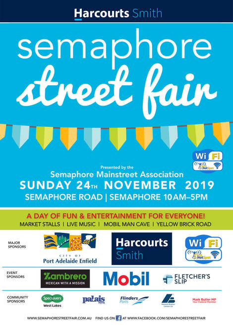 harcourts smith semaphore street fair 2019, community event, fun things to do, free event, city of port adelaide enfield, semaphore sa, semaphore public relations, family fun entertainment, activities, al fresco food, market stalls, roving entertainments, live music, entertainment stages, djs, pop up bars