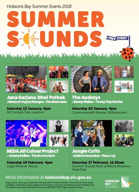 hobsons bay summer events 2018, movies by the bay 2018, summer sounds 2018, hobsons bay council, summer events program, family friendly, blockbuster films, live bands, cinema series, high profile music acts, fun for kids, family fun, community event, entertainers, music series, free films, concerts, nightlife, freebies