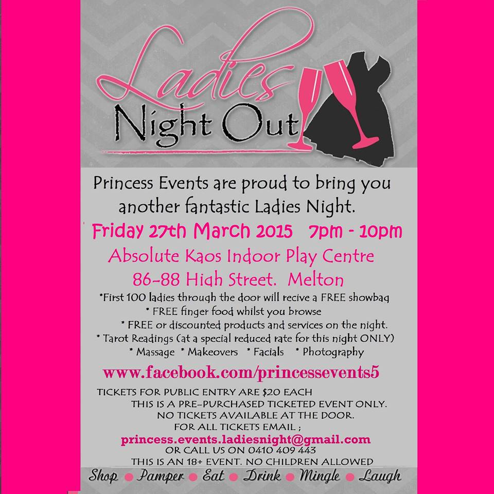ladies night out, princess events, absolute kaos indoor play centre, tarot  readings,