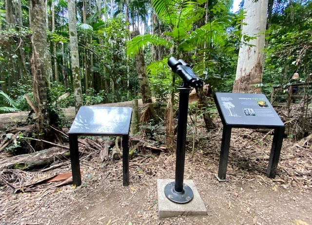 A new spotting scope has been installed near a flying fox viewing platform