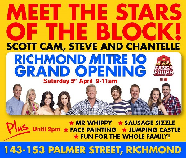 mitre 10, the block, the block melbourne, the block appearances, mitre10 richmond grand opening